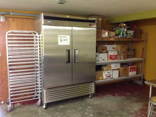 Taproot's double door commercial refrigerator donated by an anonymous Lopez Island donor.